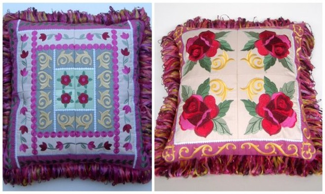 Fringe Pillow features Anita Good Design Audrey Rose by Melinda Kunkel