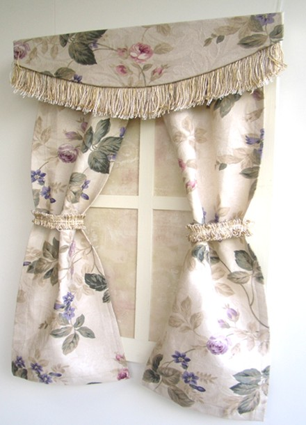Window Treatment: Cut Fringe Valance and Looped FringeTie Backs