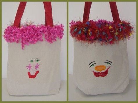 You too can make these adorable funny face totes!