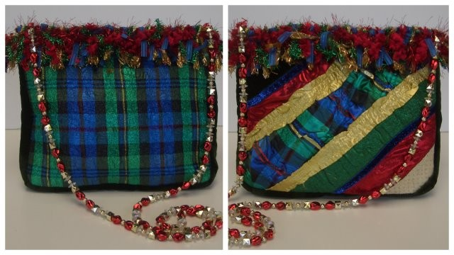 Fringed  Holiday Purse made with Embellisher by Ann Travis of KY