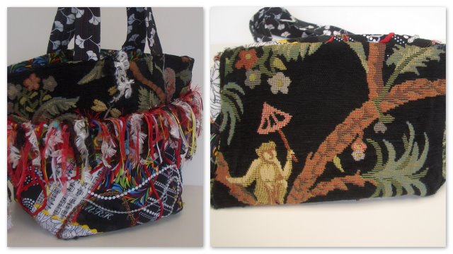 Crazy Patch Fringe Tote with Monkey Theme by Melinda Kunkel