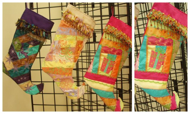 Fringe Trim Christmas Stockings #2 Crazy Patch Style ~ Lynn Rhinehart