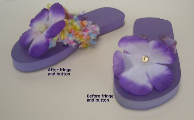 Flip Flops, Flowered and  decorated with Fringe
