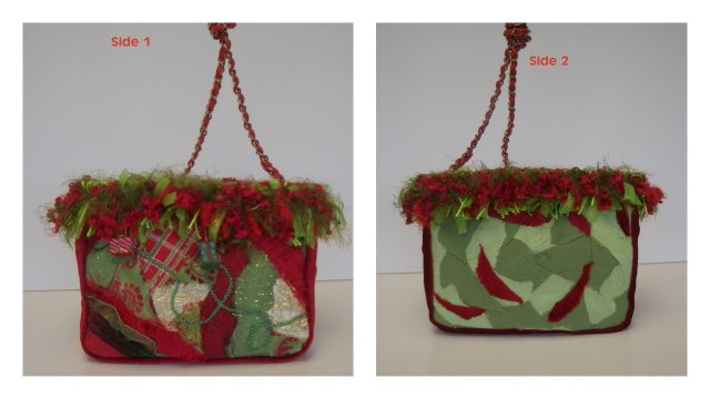 Holiday Purse with unique fringe trim Created by Ann Travis, KY