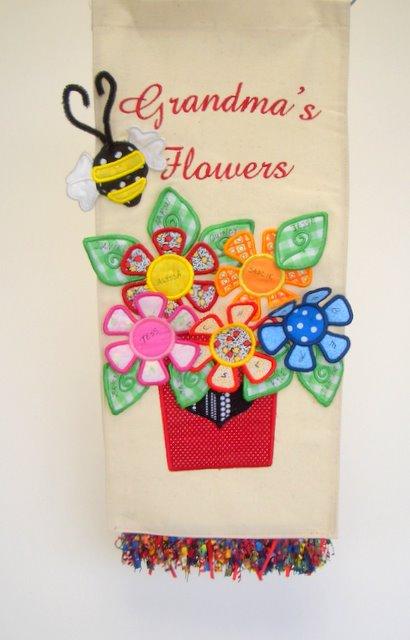 Grandma's Flowers Tote trimmed in Fringe by Melinda Kunkel
