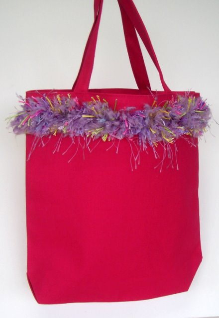 Pretty Pink Tote with Fringe Trim