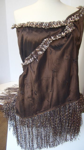 Wrap or Shawl is Double Fringed - very vogue and chic