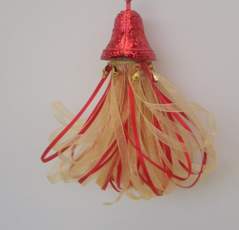 Whimsical Tassel created with Red and Gold Ribbons