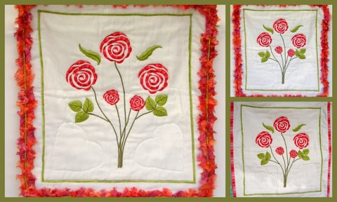 Quilted Poppy Wall Hanging with Fringe Border