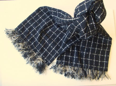 Fashion Scarf, Classic black and ivory with cut fringe - EASY to Make!
