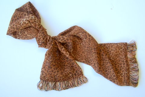 Fringe Scarf Leopard Print, easy to make, add custom fringe!