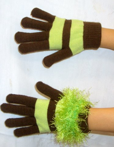 Knit Gloves Before and after DIY fringe [ without and with fringe]