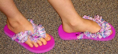 Frilly fringe decorates Flip Flops. Fringe made with DMC Floss and Thread