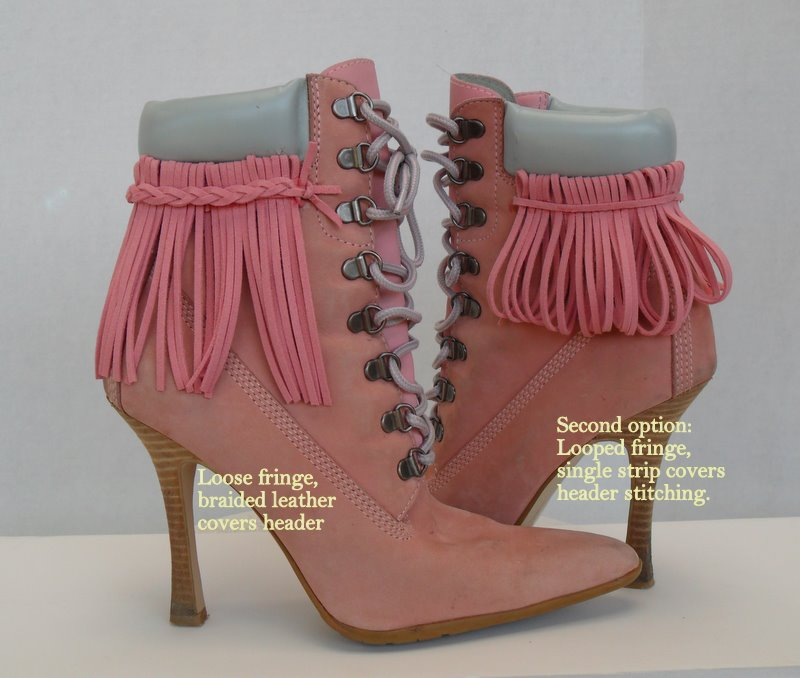 Pink Fringe Leather Boots