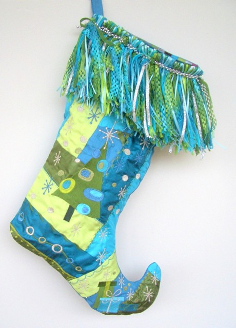 Crazy Patch Embroidered Stocking trimmed in Fabulous Thick Fringe