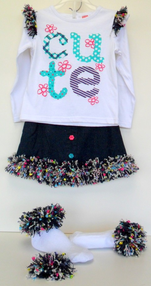 Fashion fringe for girls outfit, shirt, skirt, socks and barrette