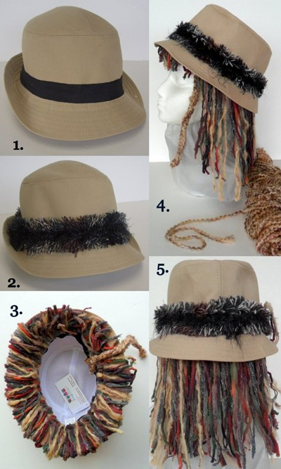 Hippy hair hat , costume hat - make it yourself, fast and easy