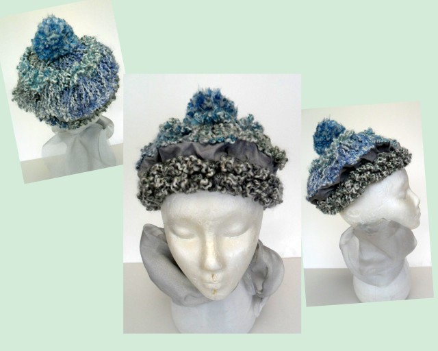 Tam Hat  with Pom Pom knitting without needles