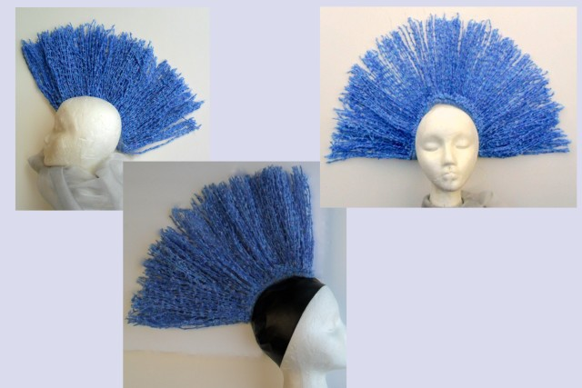 Mohawk hair, mohawk hat and showgirl head piece created from yarn