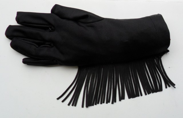 costume gloves with leather fringe