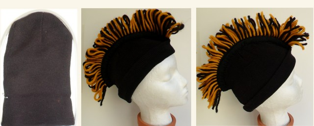 Mohawk hat, easy to create, use yarn and my own fringe maker